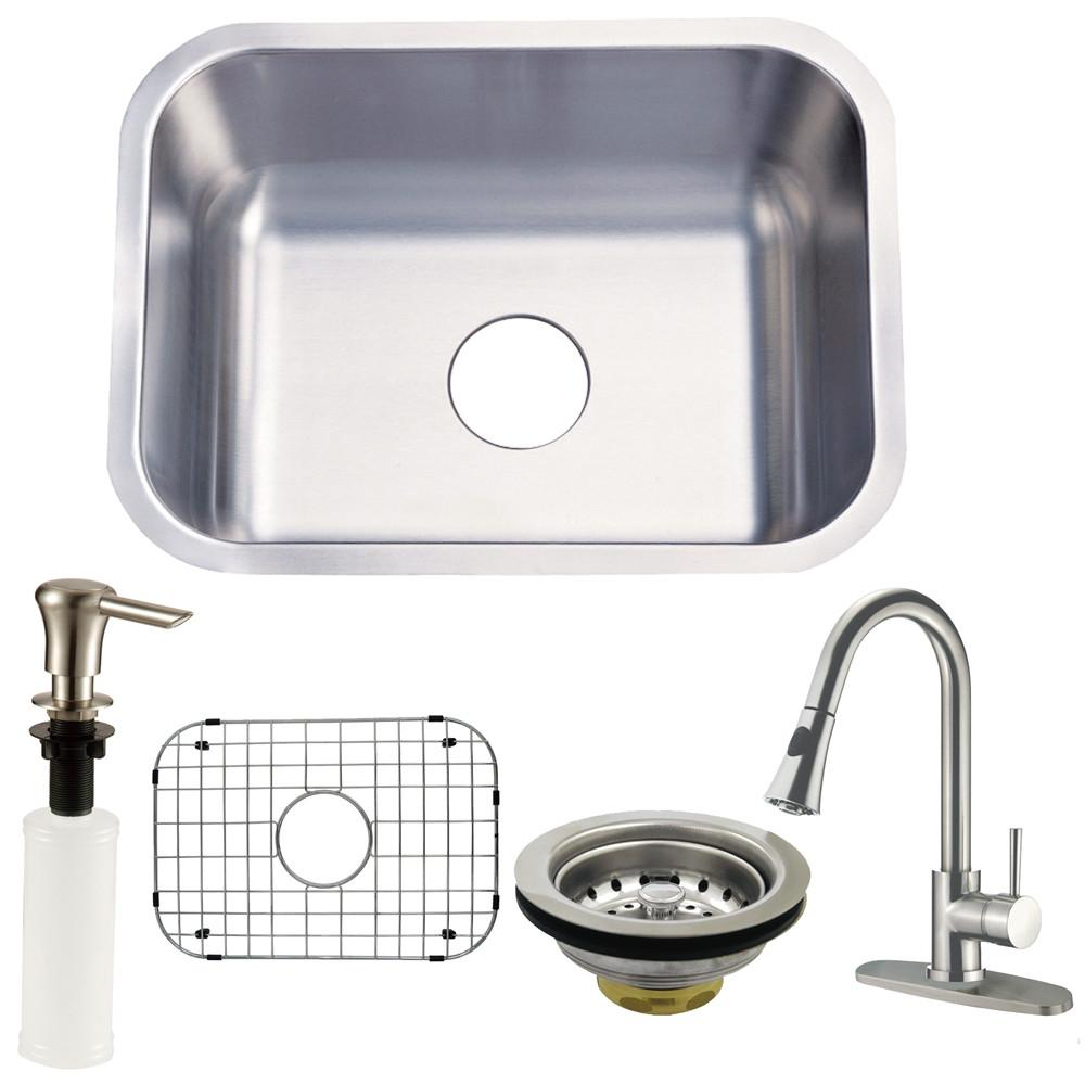 Undermount Single Bowl Kitchen Sink & Faucet w/ Strainer, Grid, Soap Dispenser