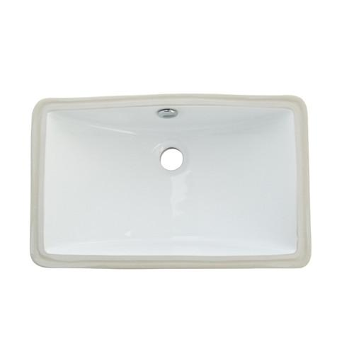 Kingston Courtyard White China Undermount Bathroom Sink & Overflow Hole LB18127