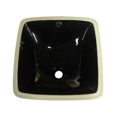 Kingston Vista Black China Undermount Bathroom Sink with Overflow Hole LB18188K