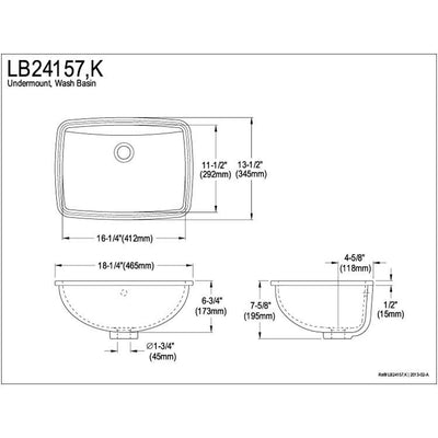 Kingston Forum Black China Undermount Bathroom Sink with Overflow Hole LB24157K