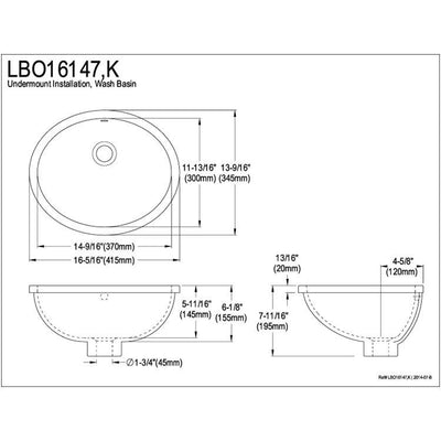 Kingston Marina White China Undermount Bathroom Sink with Overflow Hole LBO16147
