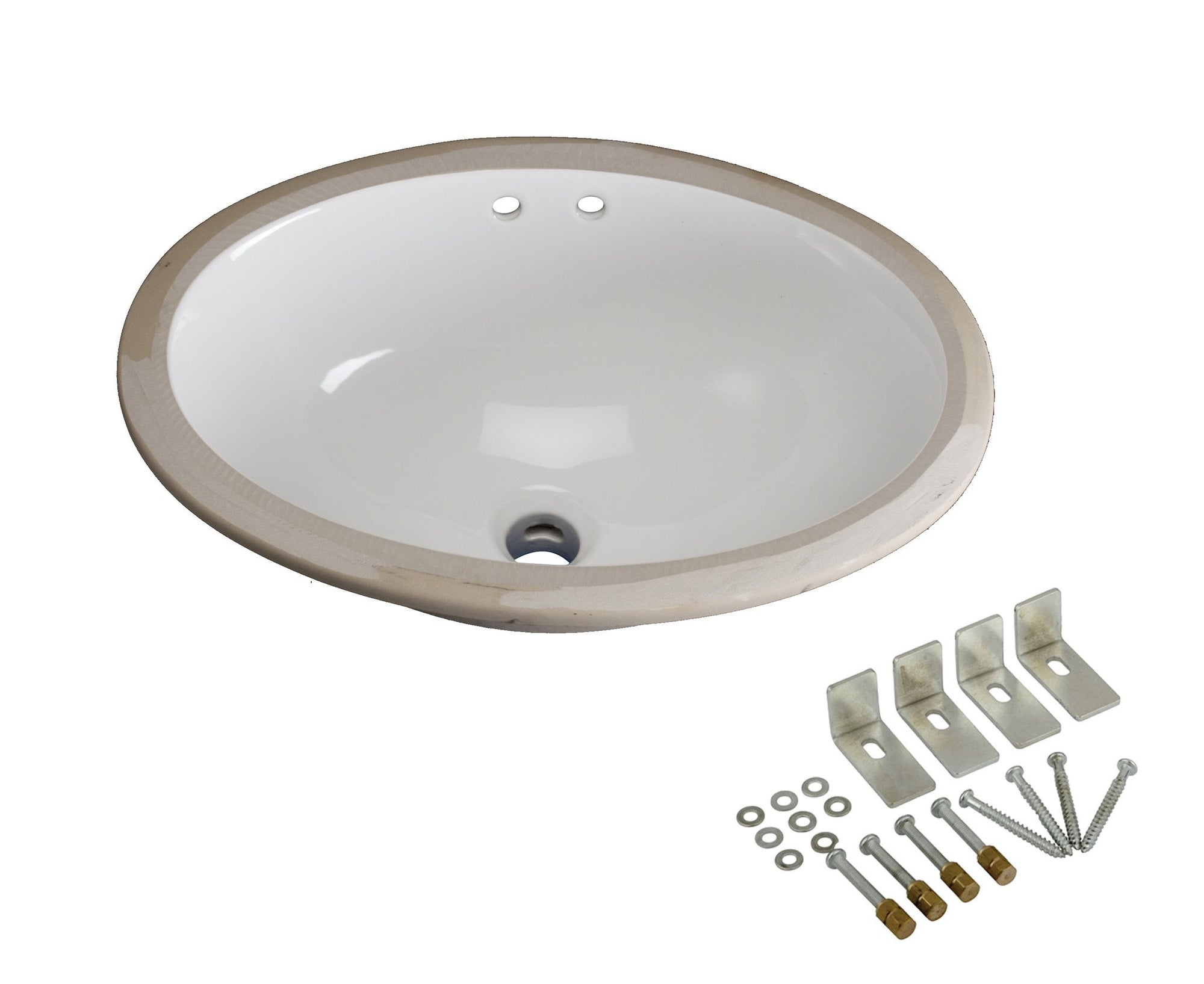Kingston White Bath Cove White China Oval Undermount Bathroom Sink LBO17126