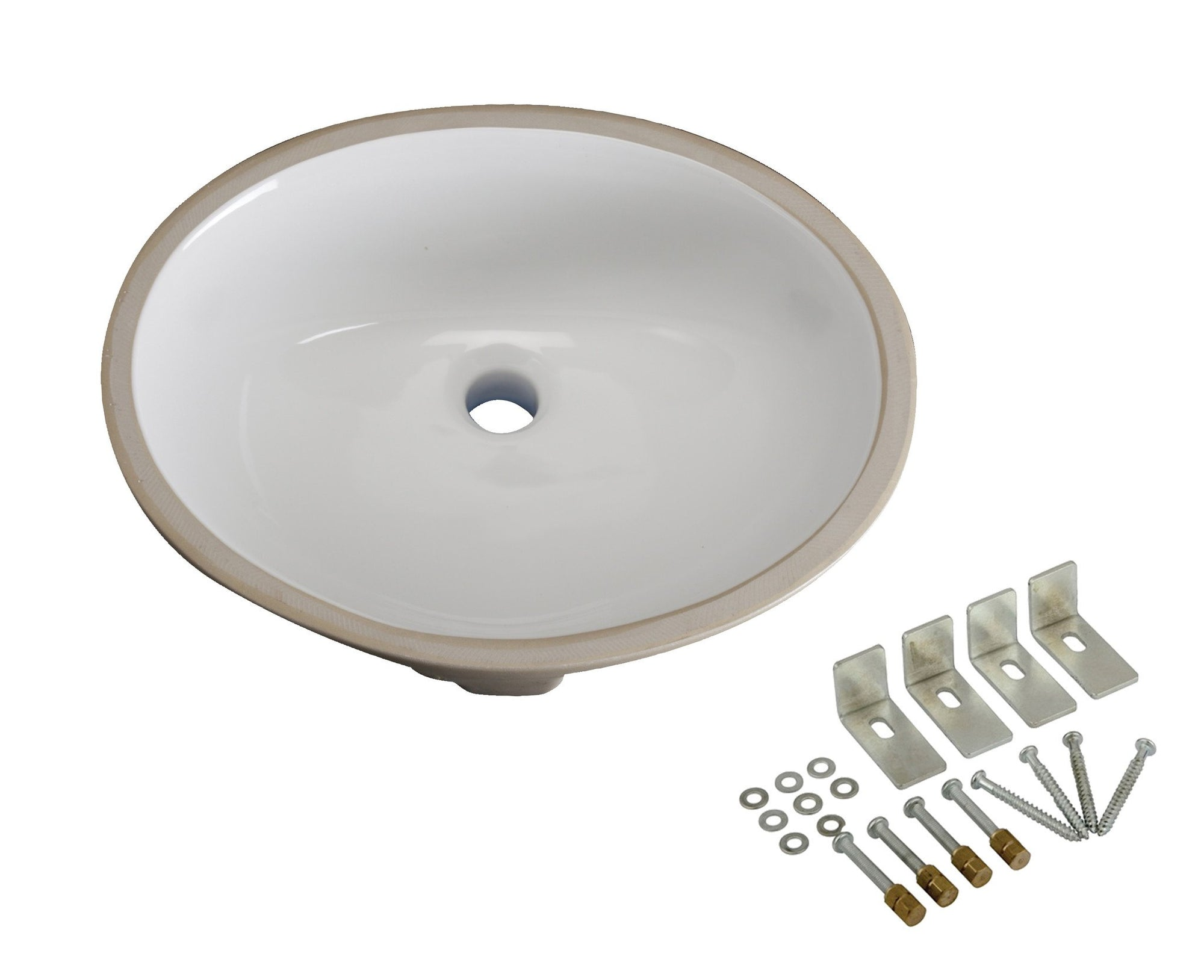 Kingston White Bath Cove White China Oval Undermount Bathroom Sink LBO17146