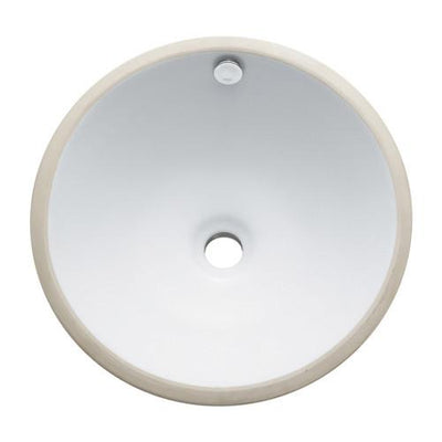 Courtyard White China Undermount Bathroom Sink with Overflow Hole LBR17176