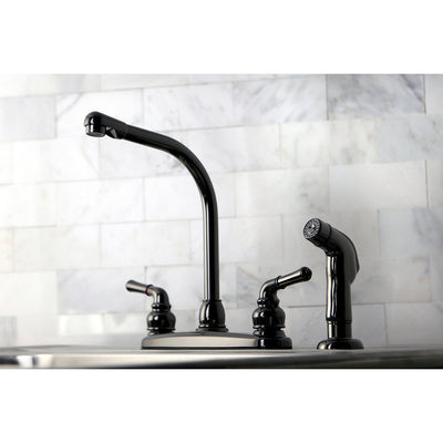 Kingston Water Onyx Black Nickel finish Centerset Kitchen Faucet w Spray NB750SP