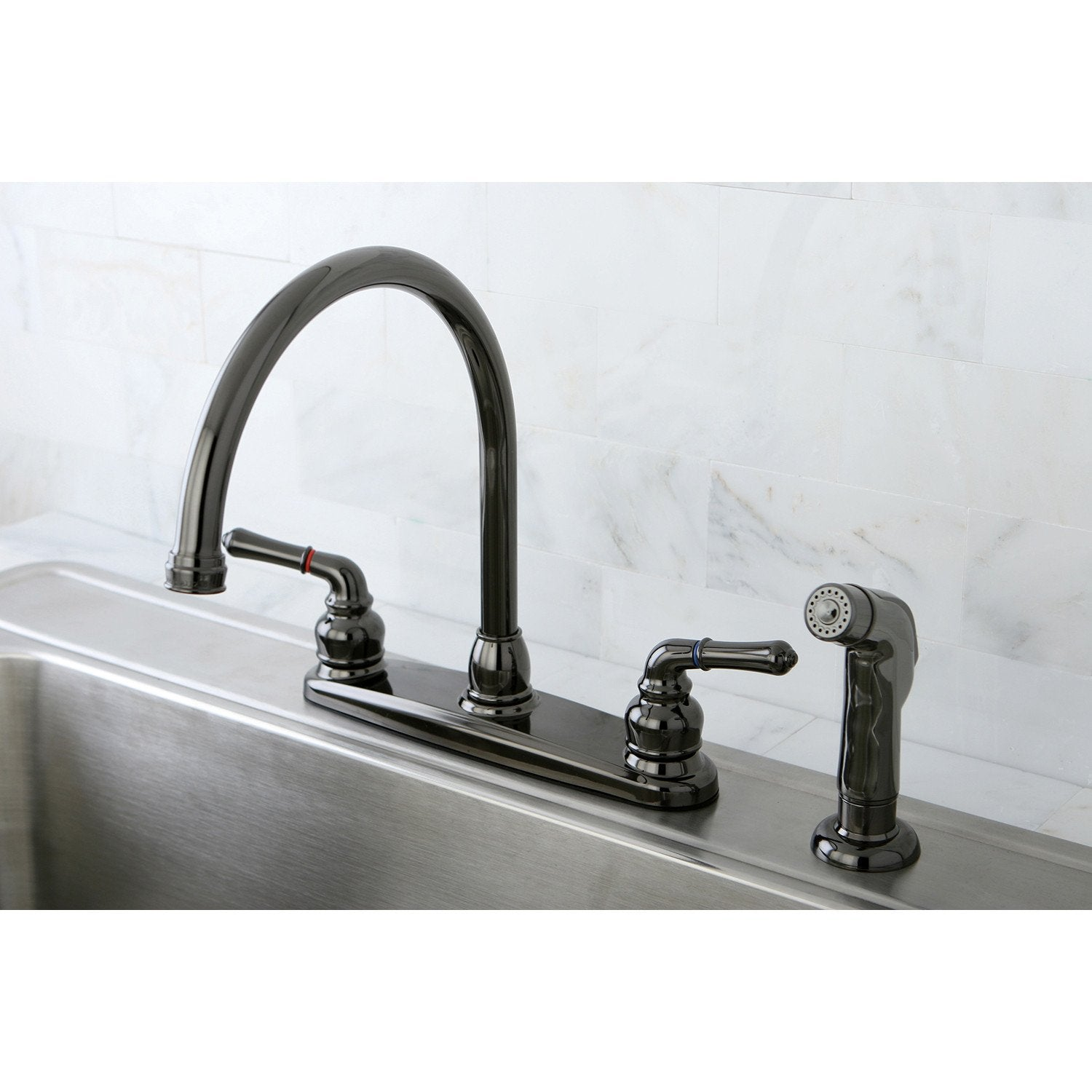 Kingston Water Onyx Black Nickel finish Centerset Kitchen Faucet w ...