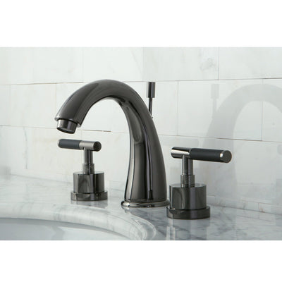 Kingston Water Onyx Black Nickel finish Widespread Bathroom Faucet ...