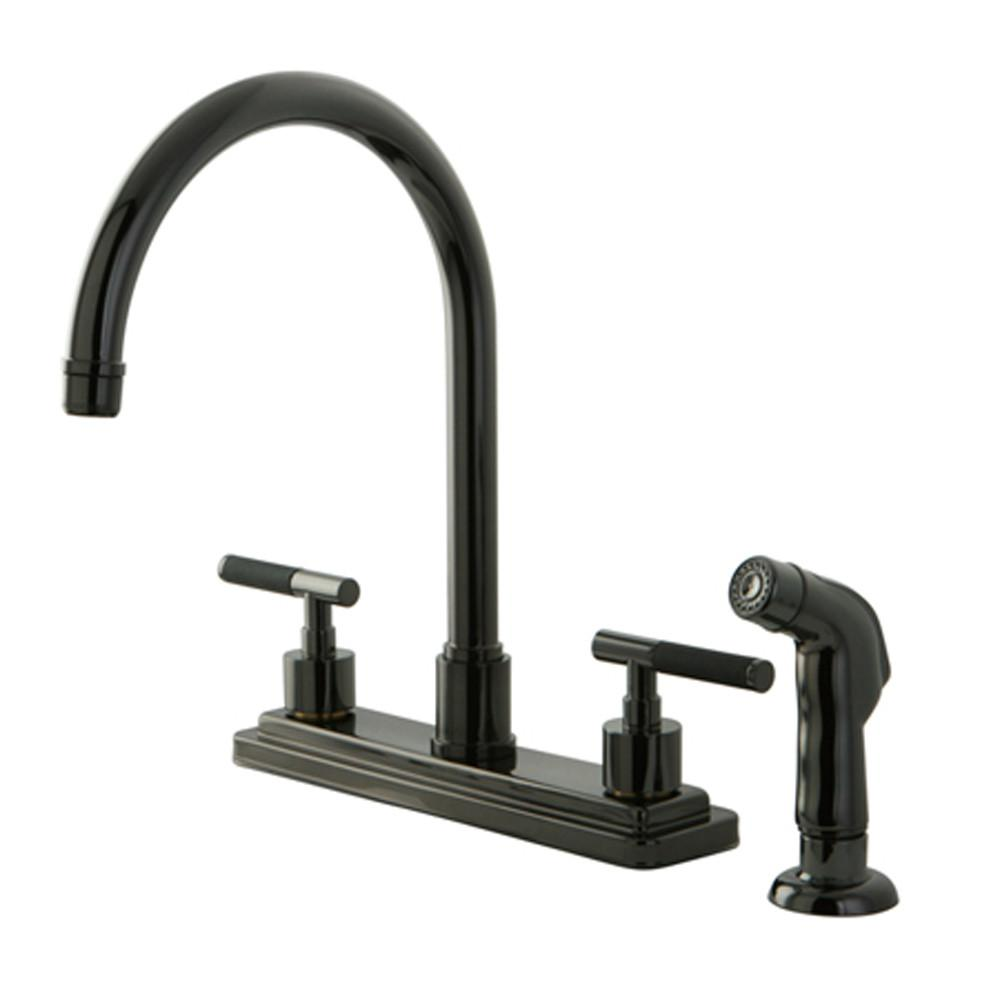 Kingston Water Onyx Black Nickel Centerset Kitchen Faucet w Spray NS8790DKLSP