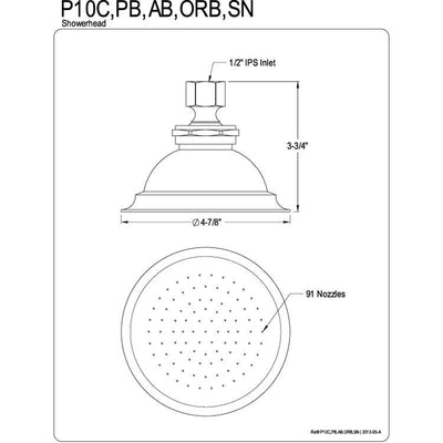 "Kingston Brass Showerheads Oil Rubbed Bronze 4-7/8"" Shower Head P10ORB"