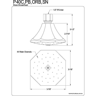 "Kingston Brass Showerheads Oil Rubbed Bronze 3-3/4"" Octagon Shower Head P40ORB"