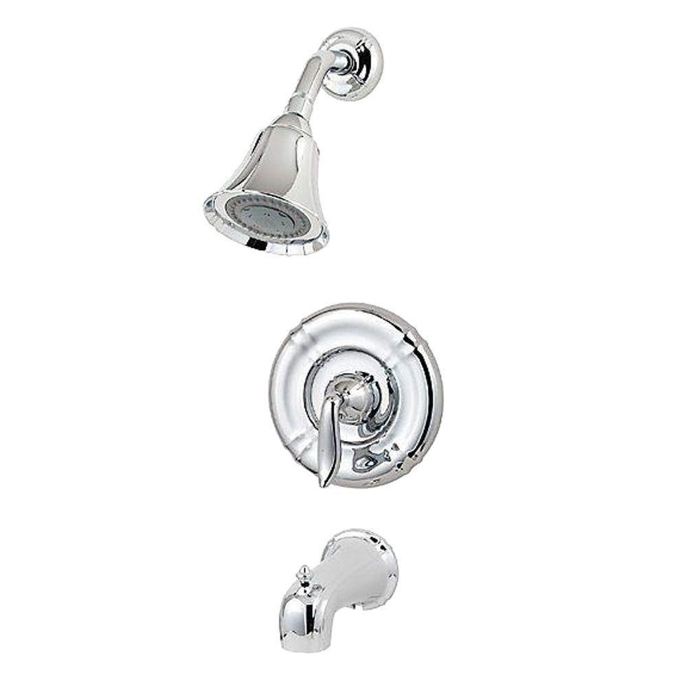 Price Pfister Santiago 1-Handle Tub and Shower Faucet Trim Kit in Polished Chrome (Valve Not Included) 282497