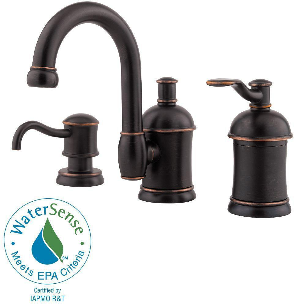 Price Pfister Amherst 8 inch Widespread 1-Handle Bathroom Faucet with Soap Dispenser in Tuscan Bronze 466032