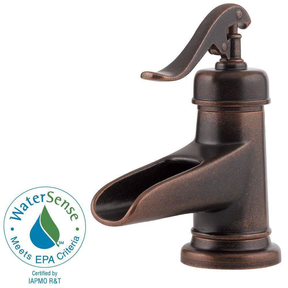 Price Pfister Ashfield 4 inch Centerset 1-Handle Bathroom Faucet in Rustic Bronze 473298