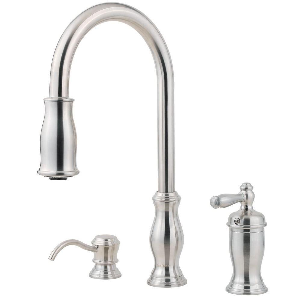 Price Pfister Hanover Single-Handle Pull-Down Sprayer Kitchen Faucet with Soap Dispenser in Stainless Steel 475754