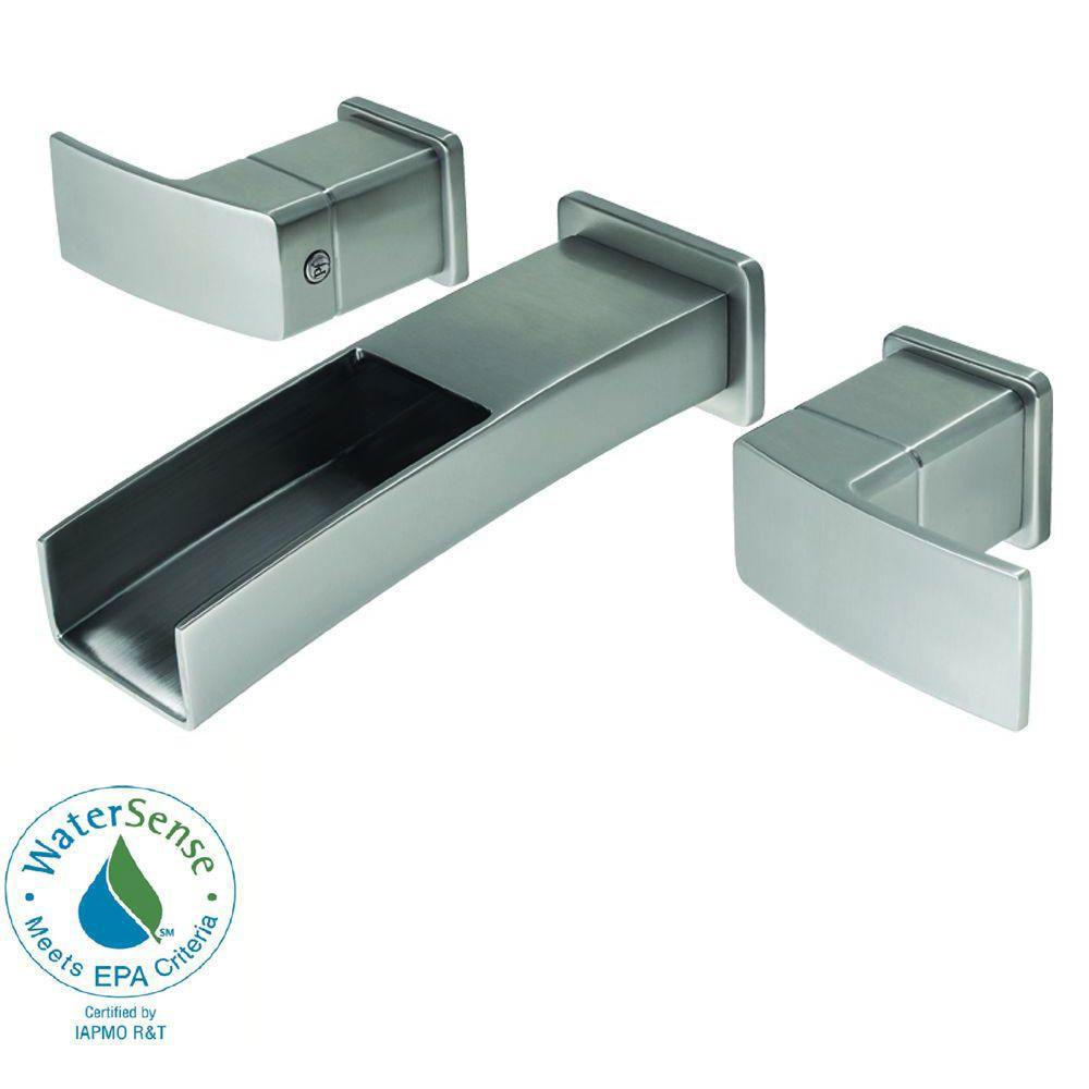 Price Pfister Kenzo Wall Mount 2-Handle Bathroom Faucet in Brushed ...