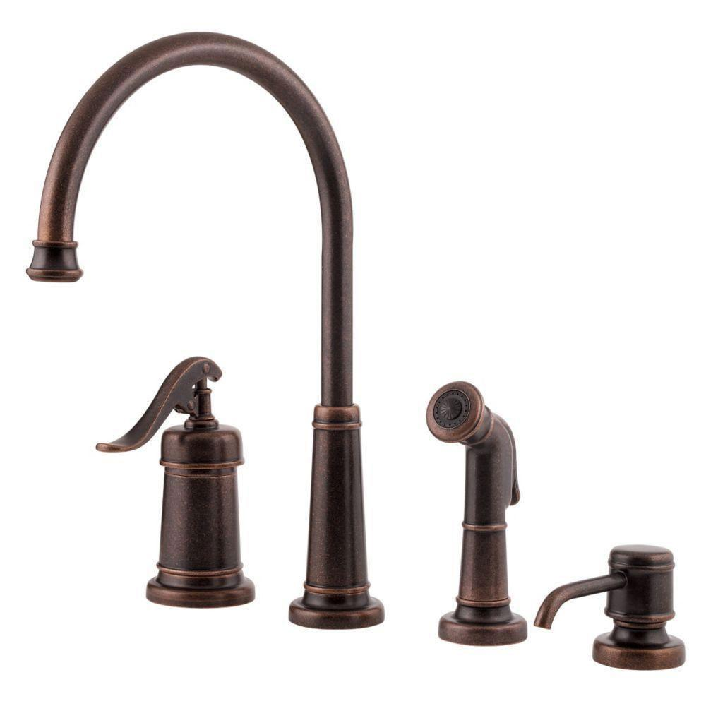Price Pfister Ashfield Single-Handle Side Sprayer Kitchen Faucet with Sidespray and Soap Dispenser in Tuscan Bronze 519843