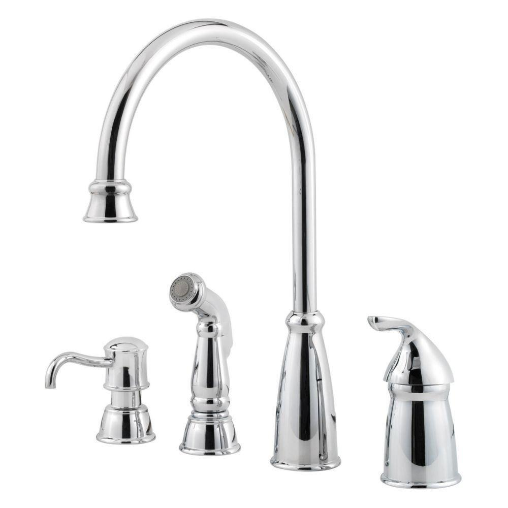 Price Pfister Polished Chrome Avalon Single-Handle Kitchen Faucet with Sidespray and Soap Dispenser 519844