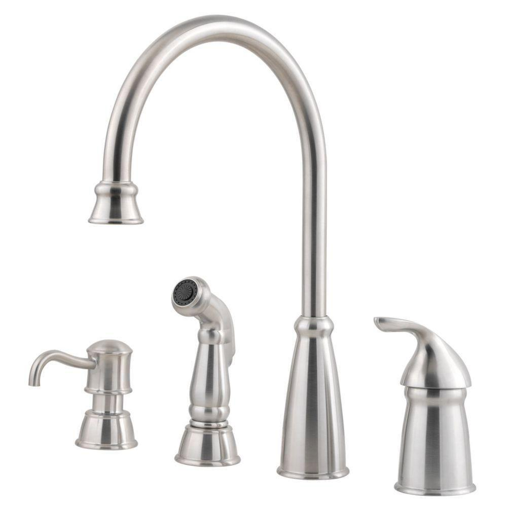 Price pfister avalon single handle kitchen faucet with sidespray and soap dispenser in stainless steel