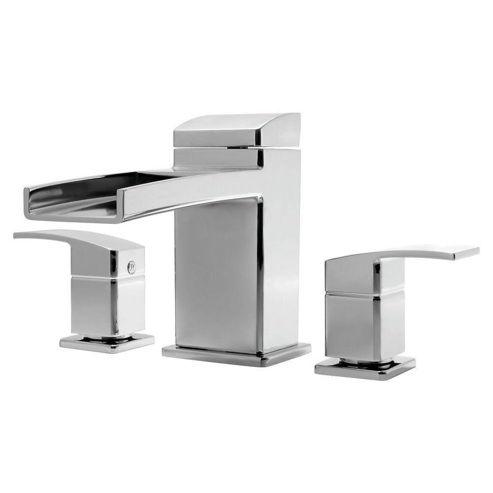Price Pfister Kenzo 2-Handle Deck Mount Waterfall Roman Tub Faucet Trim Kit in Polished Chrome (Valve Not Included) 534635
