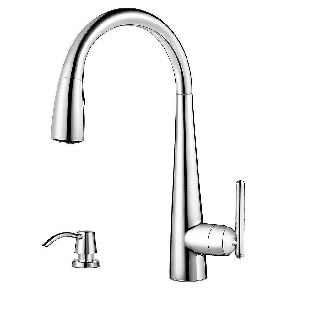 Price Pfister Lita Single-Handle Pull-Down Sprayer Kitchen Faucet with Soap Dispenser in Polished Chrome 642756