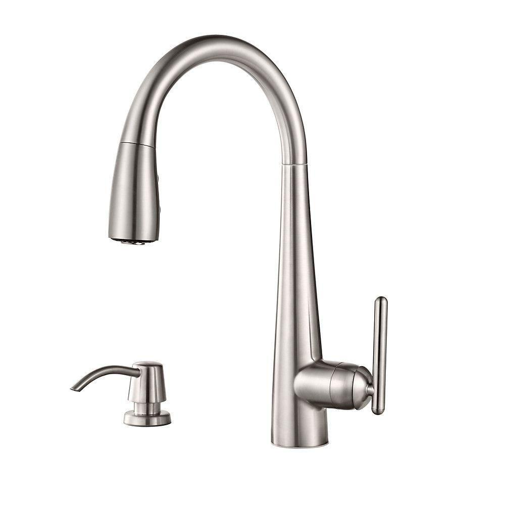 Price Pfister Lita Single-Handle Pull-Down Sprayer Kitchen Faucet with Soap  Dispenser in Stainless Steel 642758