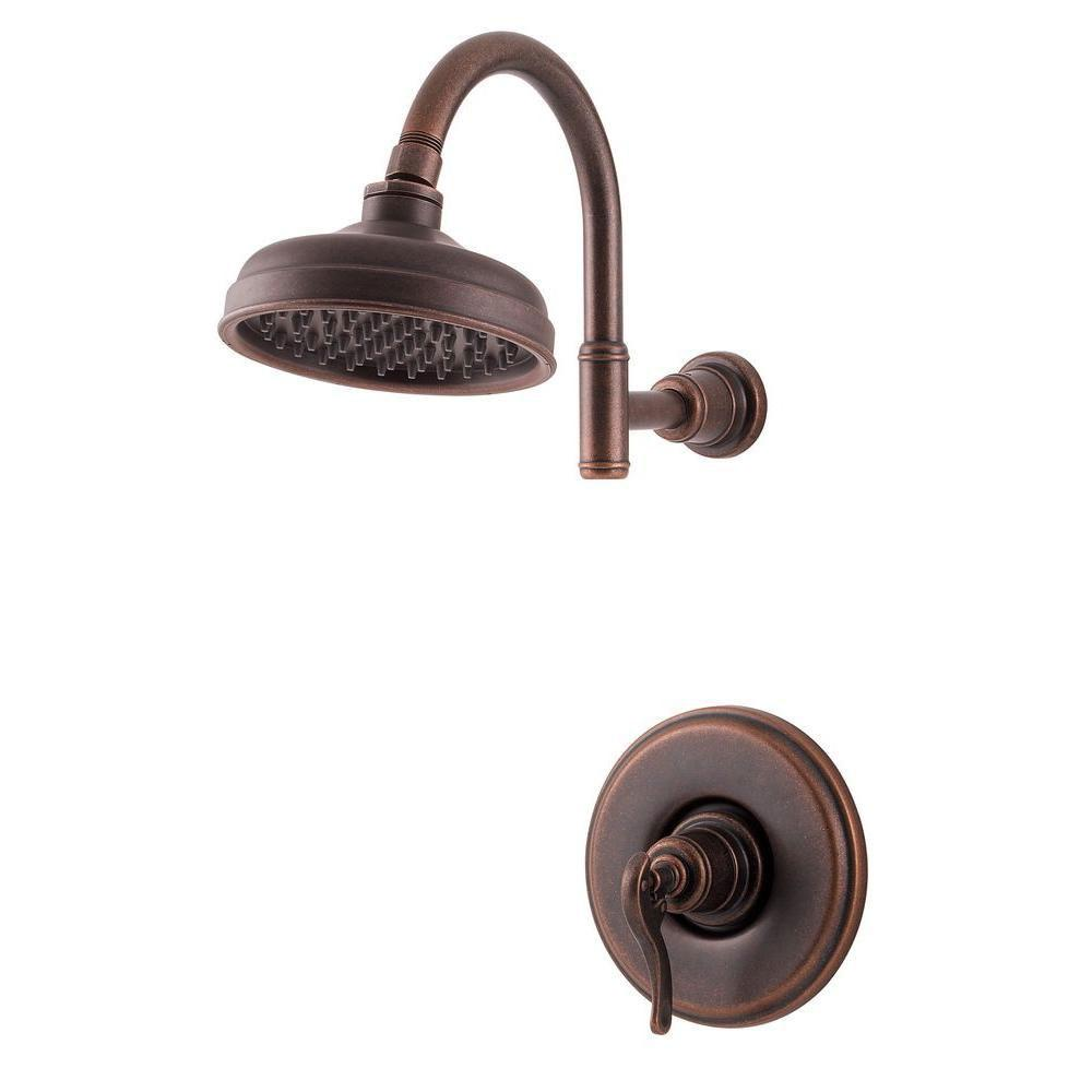 Price Pfister Ashfield 1-Handle Shower Faucet Trim Kit in Rustic Bronze (Valve Not Included) 763608
