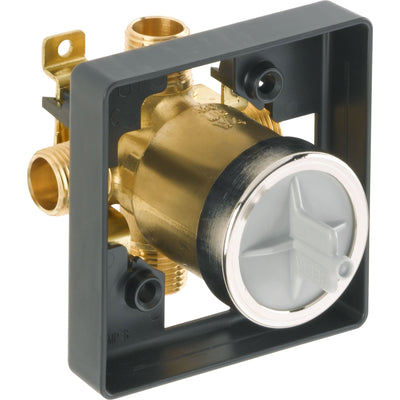 Delta Chrome Finish Cassidy Collection 14 Series Digital Display Temp2O Shower Valve Control COMPLETE with Single Cross Handle and Valve without Stops D1640V