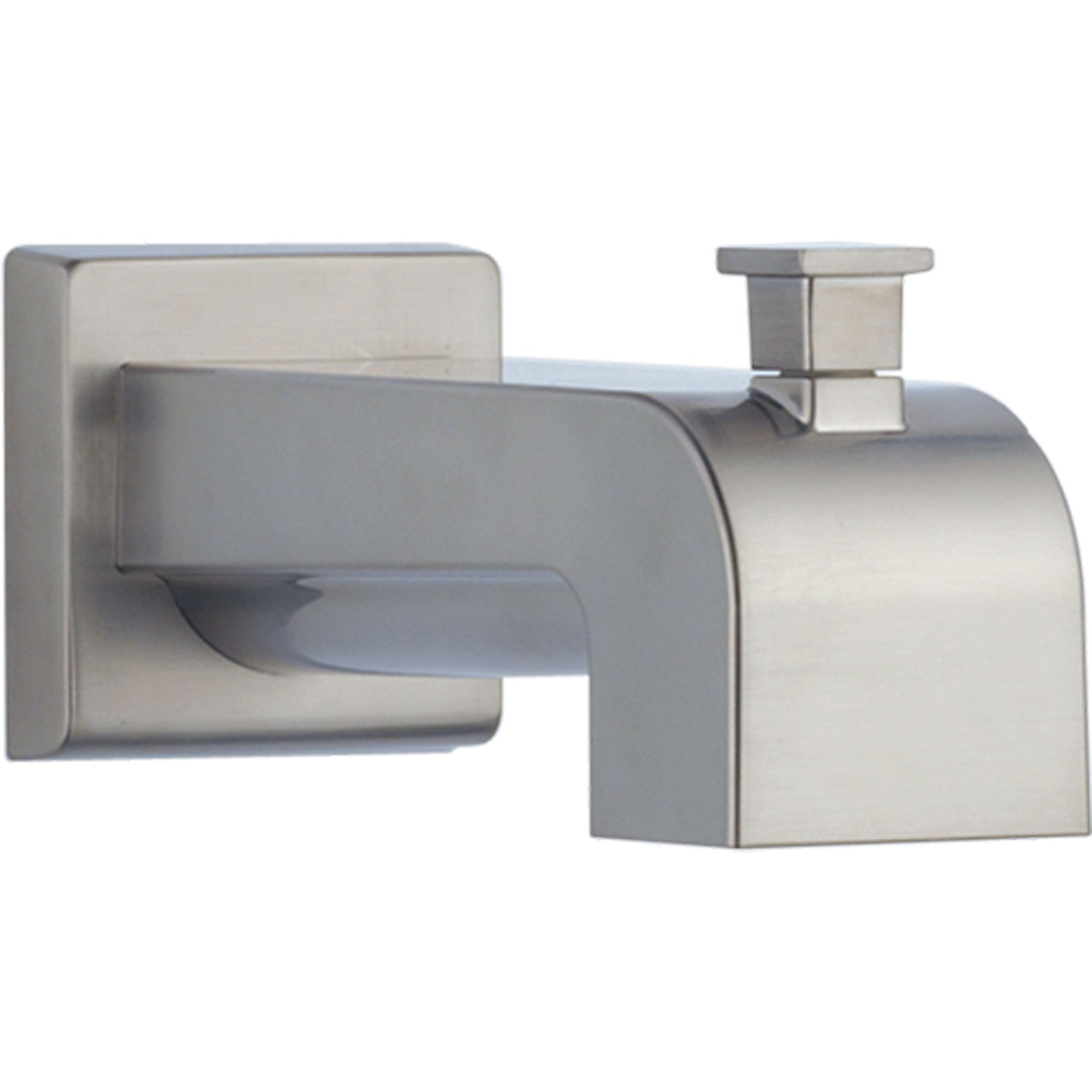 "Delta Arzo 7.13"" Modern Stainless Steel Finish Pull-Up Diverter Tub Spout 588659"