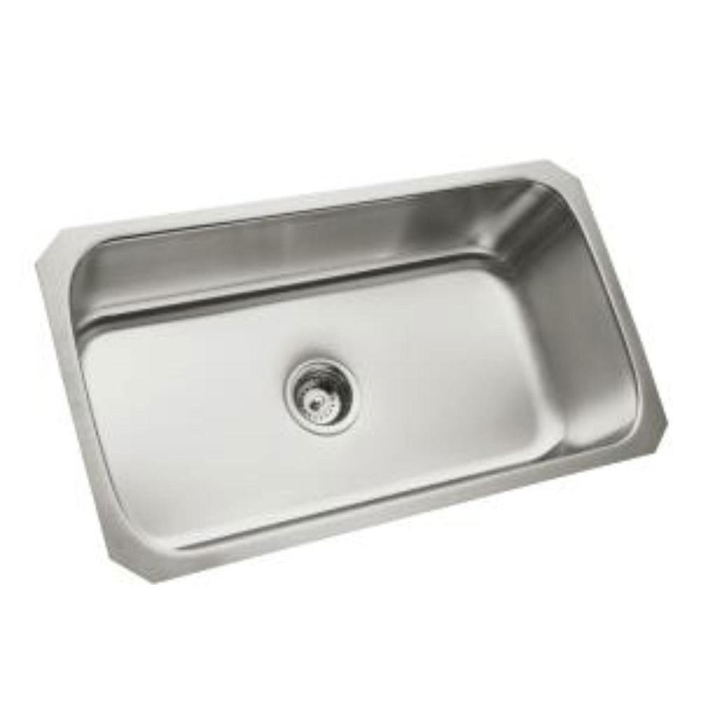 Sterling McAllister Undermount Stainless Steel 29-1/2x15-3/14x9-5/16 0-Hole Single Bowl Kitchen Sink 246081