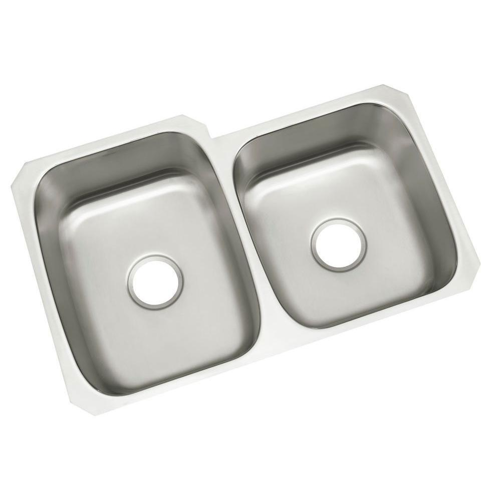 Sterling McAllister Self-Rimming Stainless Steel 20.75 inch 0-Hole Double Bowl Kitchen Sink 246109