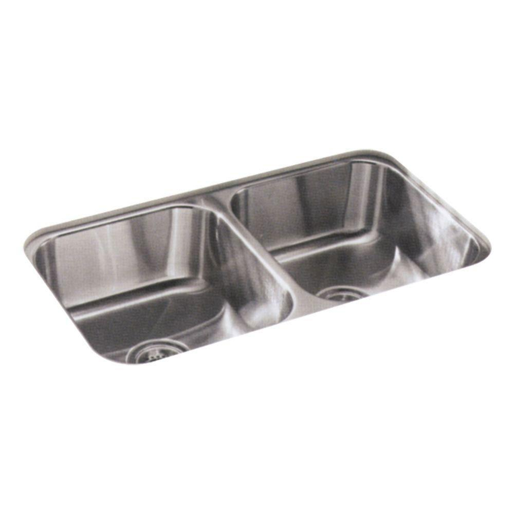 Sterling McAllister Undermount Stainless Steel 32 inch 0-Hole Double Bowl  Kitchen Sink 246113