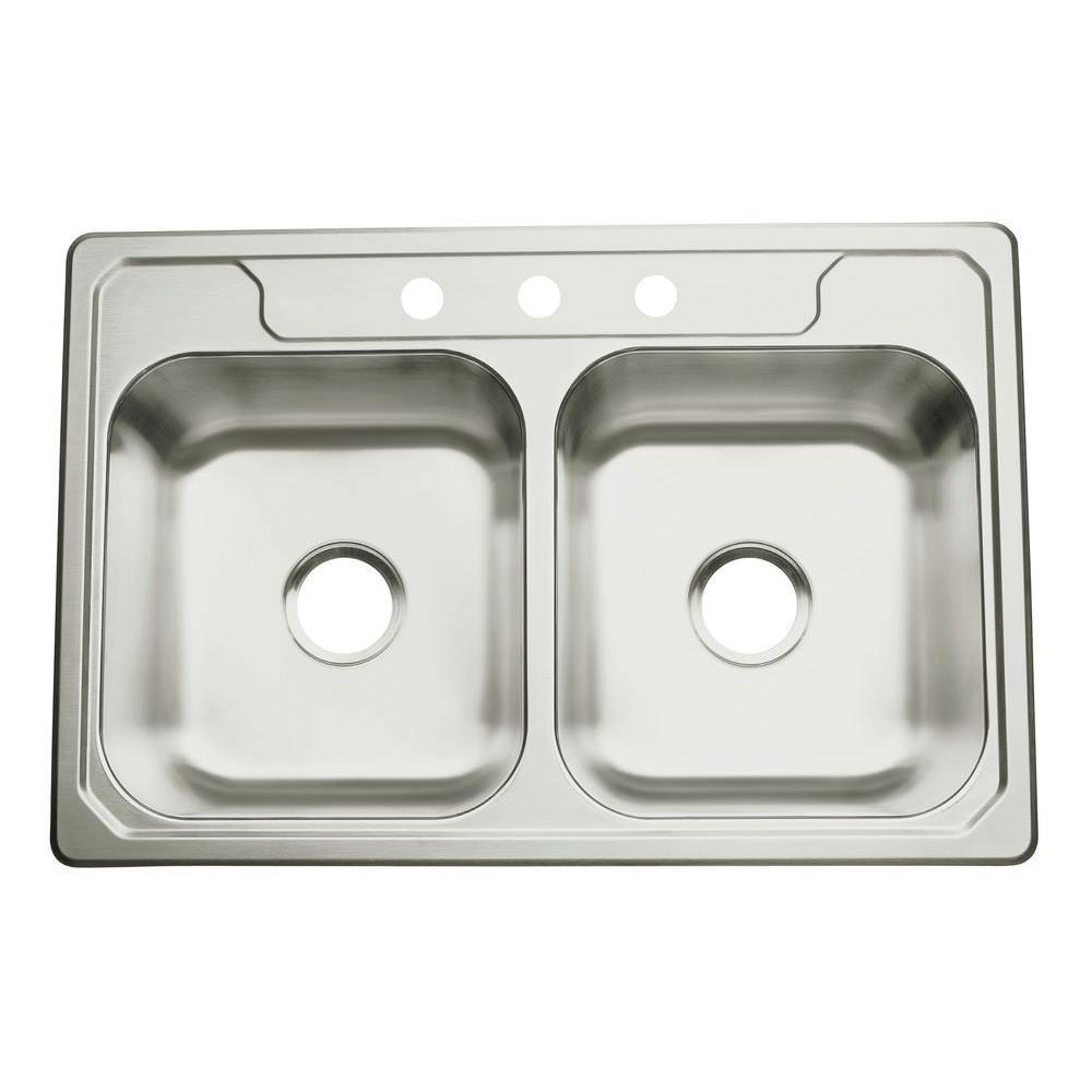 Sterling Middleton Self-Rimming Stainless Steel 33 inch 3-Hole 50/50 Double Bowl Kitchen Sink 478978