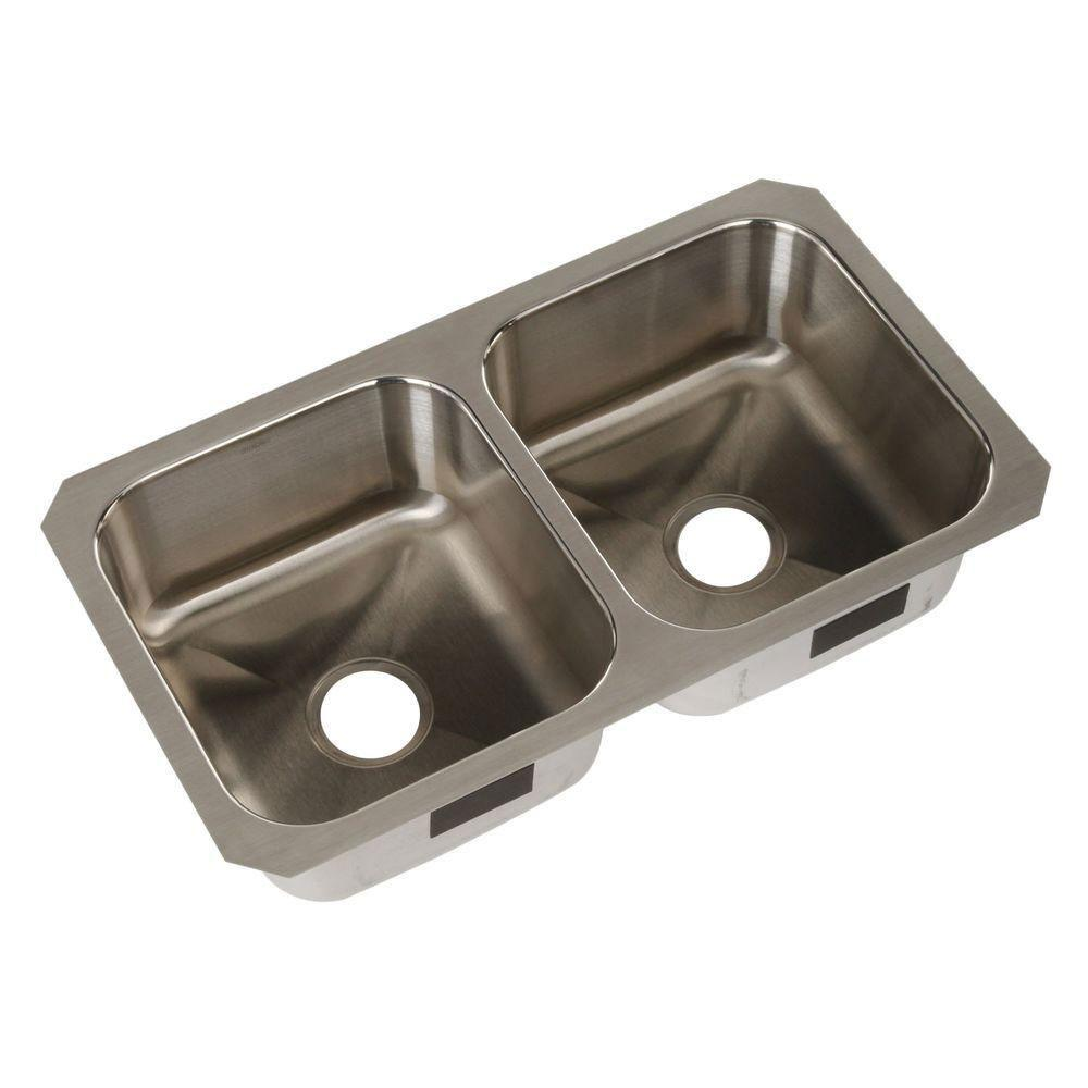 Sterling Carthage Stainless Steel 32x18x8.56 0-Bowl Double Bowl Kitchen Sink 514438