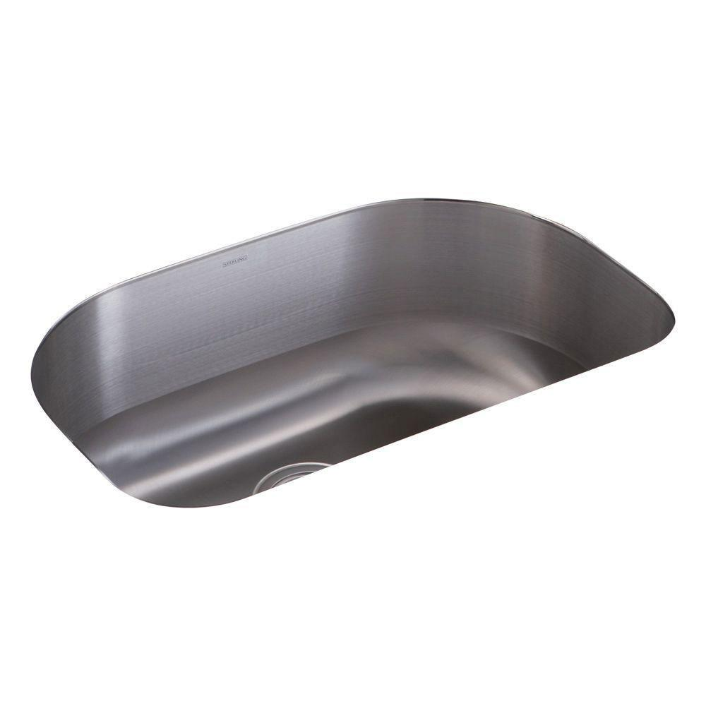 Sterling Cinch Undermount Stainless Steel 16.8125 inch 0-Hole Single Bowl Kitchen Sink 514442