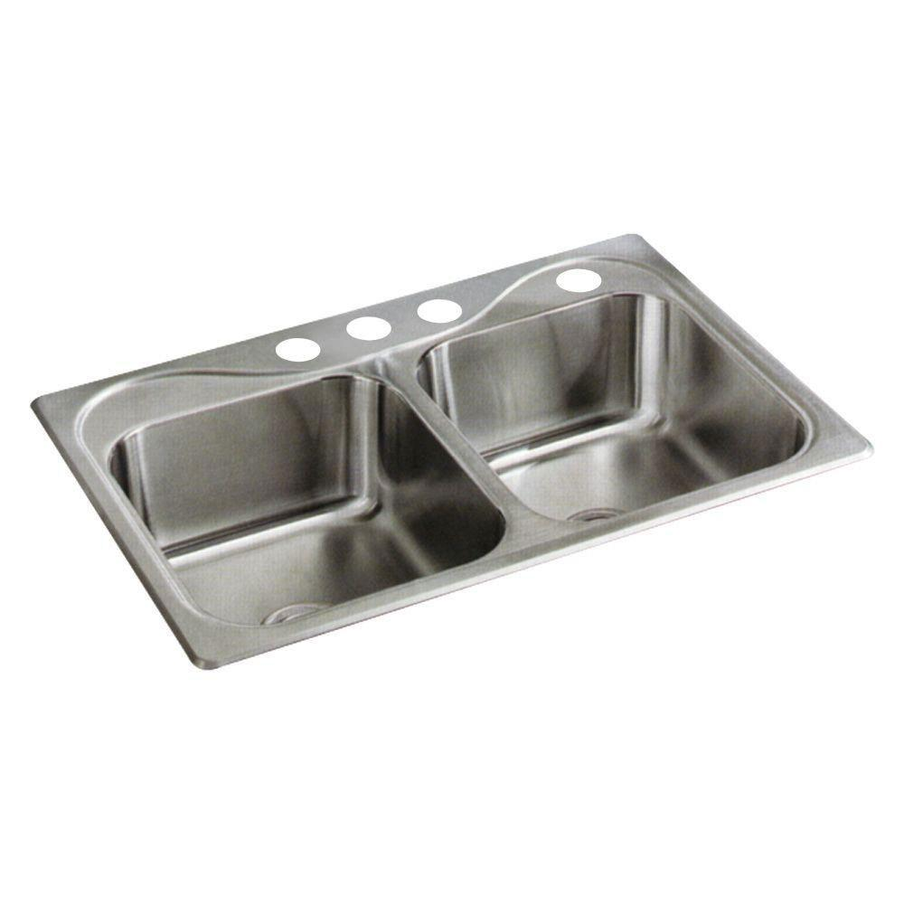 Sterling Southhaven Top Mount Stainless Steel 22 inch 4-Hole Double Bowl Kitchen Sink 662842