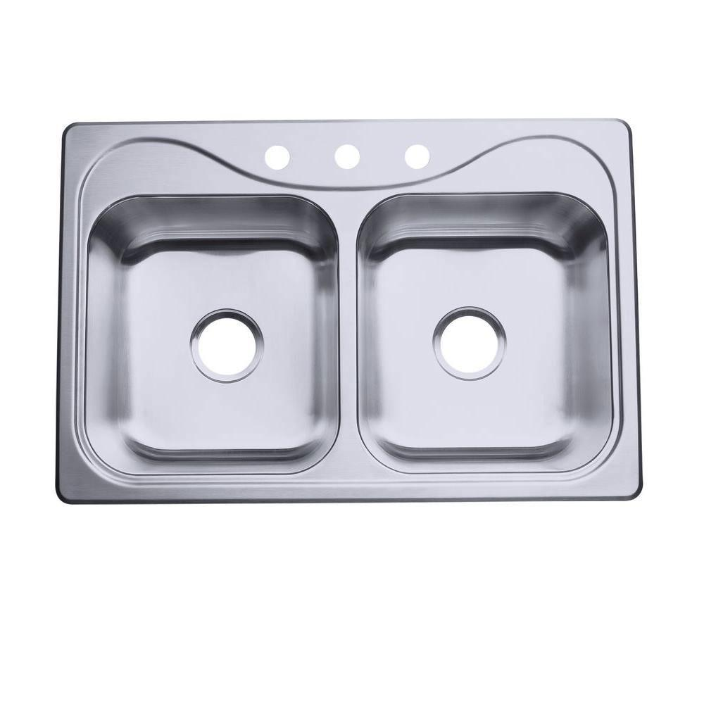 Sterling Southhaven Self-Rimming Stainless Steel 33 inch 3-Hole Double Bowl Kitchen Sink 663134