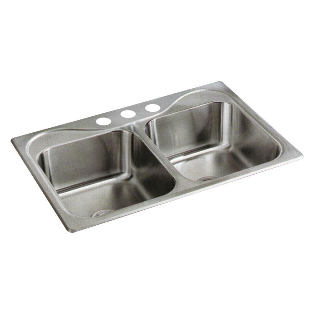 Sterling Southhaven Top Mount Stainless Steel 22 inch 3-Hole Double Bowl Kitchen Sink 663138