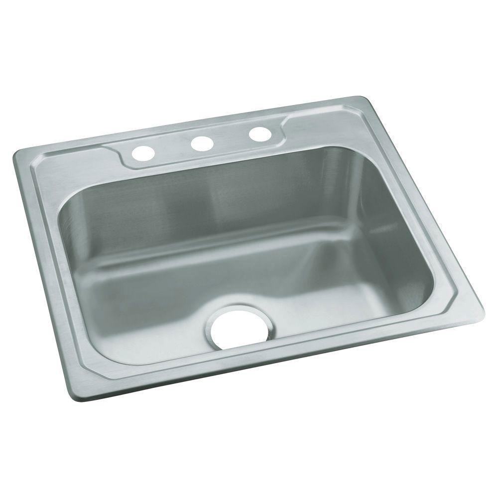 Sterling Middleton Drop-in Stainless Steel 25 inch 3-Hole Single Bowl Kitchen Sink 663148