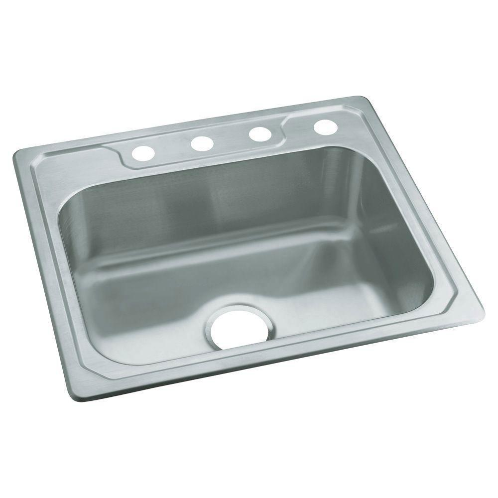 Sterling Middleton Drop-In Stainless Steel 25 inch 4-Hole Single Bowl Kitchen Sink 663149