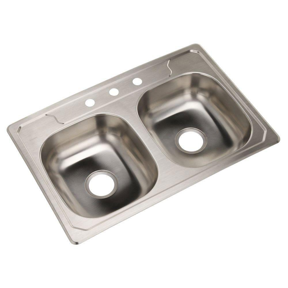 33 inch kitchen sink kraus standart sterling middleton selfrimming stainless steel 33 inch 3hole double bowl kitchen sink