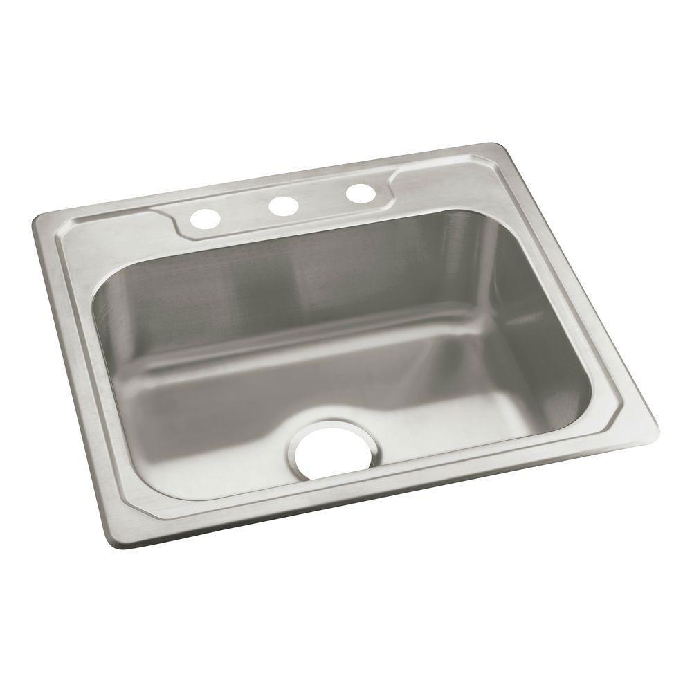 Sterling Middleton Drop-In Stainless Steel 22 inch 3-Hole Single Bowl  Kitchen Sink 663151