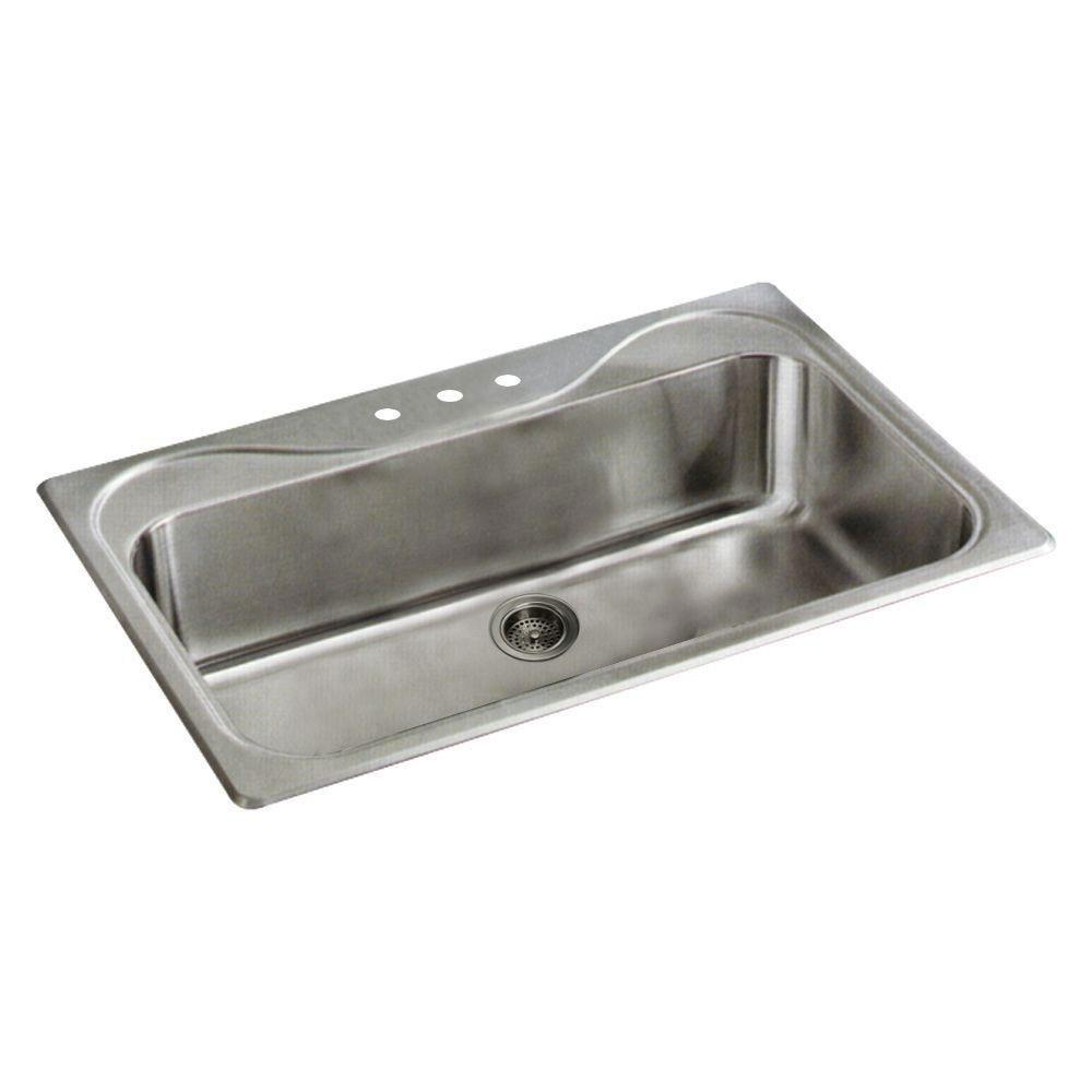 Sterling Southhaven Drop-in Stainless Steel 33x22x9 3-Hole Single Bowl Kitchen Sink 663158