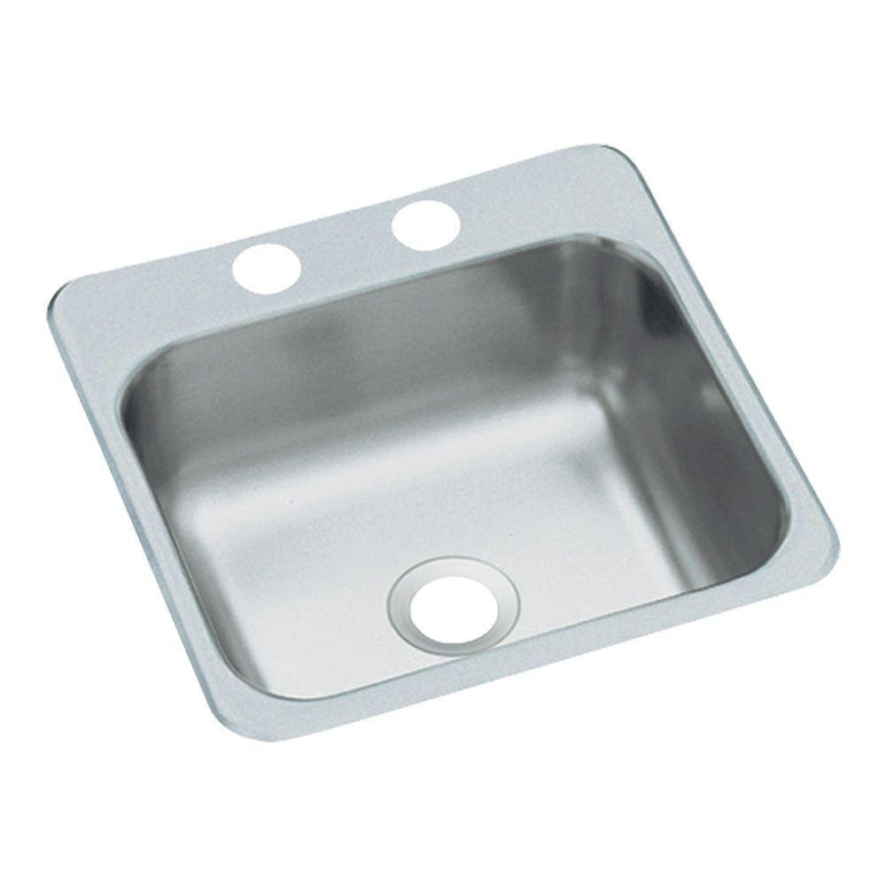 Sterling Secondary Self Rimming Stainless Steel 15 inch 2-Hole Single Bowl Kitchen Prep Sink 663231