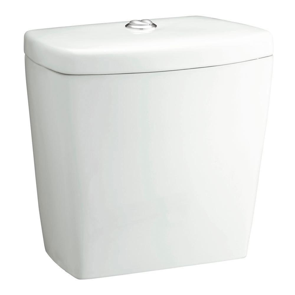 Sterling Karsten Dual Flush Toilet Tank Only with Chrome Push Button and Lid, White 663884