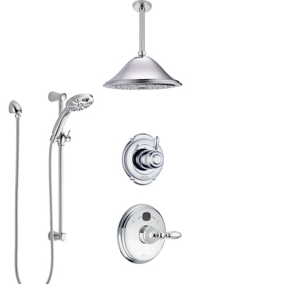 Delta Victorian Chrome Finish Shower System with Temp2O Control, 3-Setting Diverter, Ceiling Mount Showerhead, and Hand Shower with Slidebar SS140012