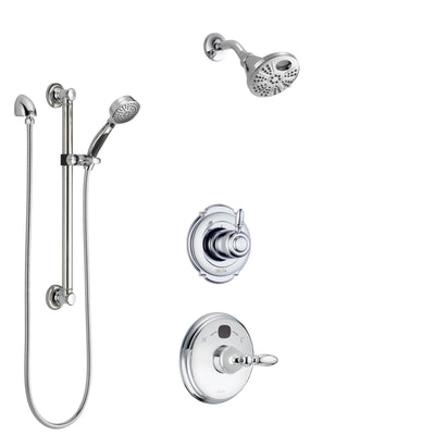 Delta Victorian Chrome Finish Shower System with Temp2O Control Handle, 3-Setting Diverter, Showerhead, and Hand Shower with Grab Bar SS140014