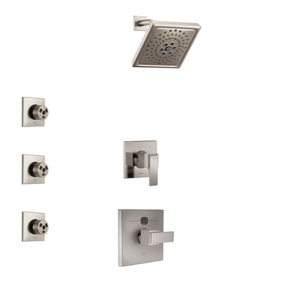 Delta Ara Stainless Steel Finish Shower System with Temp2O Control Handle, 3-Setting Diverter, Showerhead, and 3 Body Sprays SS14012SS6