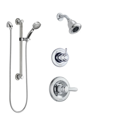 Delta Lahara Chrome Finish Shower System with Control Handle, 3-Setting Diverter, Showerhead, and Hand Shower with Grab Bar SS1423814