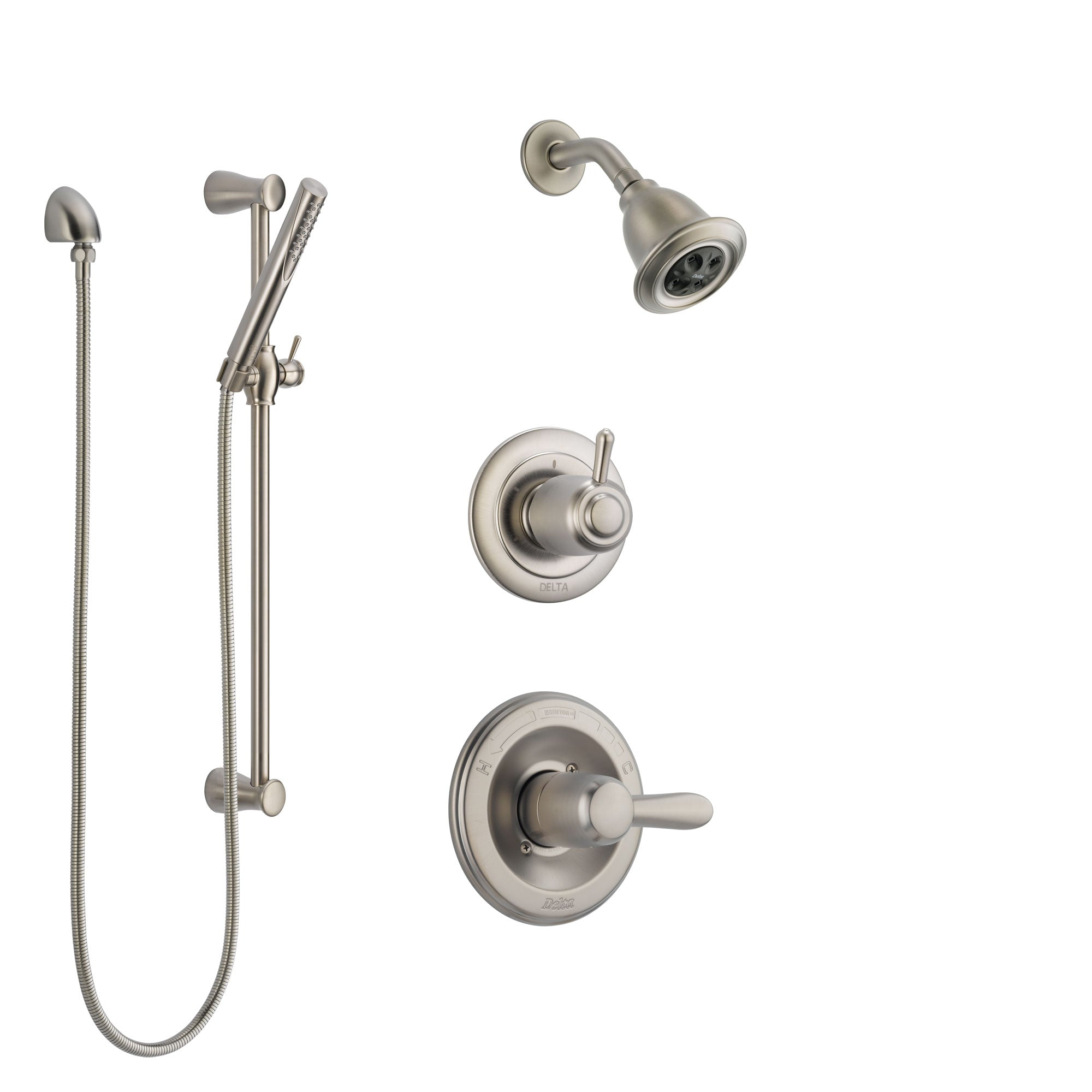Delta Lahara Stainless Steel Finish Shower System with Control Handle, 3-Setting Diverter, Showerhead, and Hand Shower with Slidebar SS142381SS4