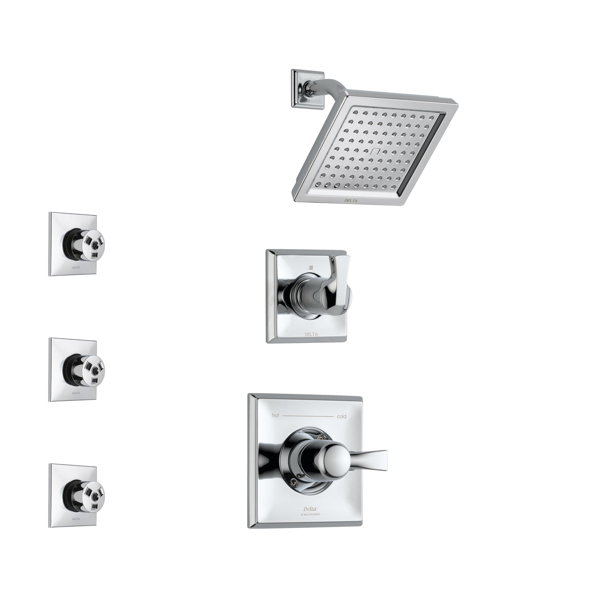 Delta Dryden Chrome Finish Shower System with Control Handle, 3-Setting Diverter, Showerhead, and 3 Body Sprays SS1425112